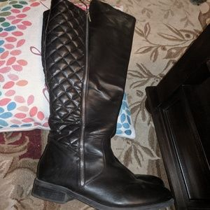 Black knee high wide calf quilted Lane Bryant boys
